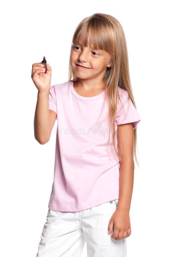 Bambina con l'indicatore immagine stock