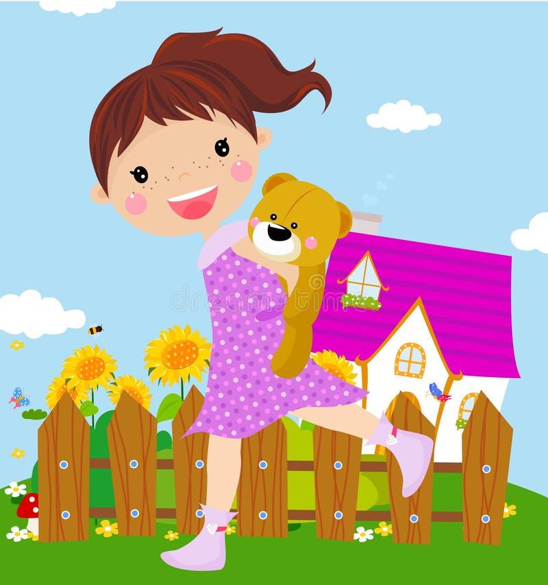 Bambina con l'orso di orsacchiotto royalty illustrazione gratis