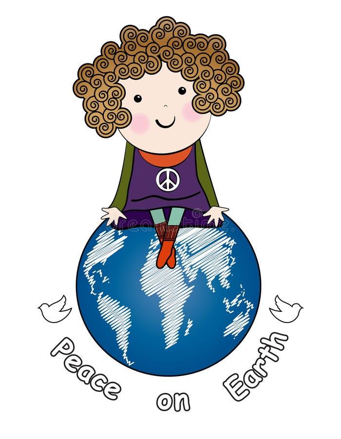 Bambina con la collana del segno del peqce royalty illustrazione gratis