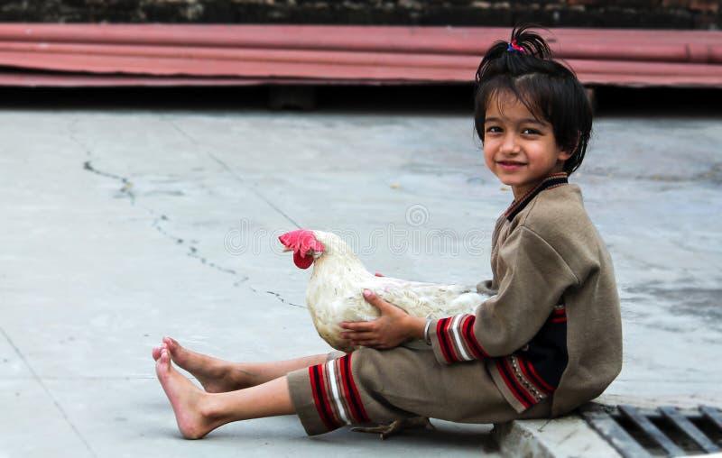 Bambina con la gallina fotografia stock