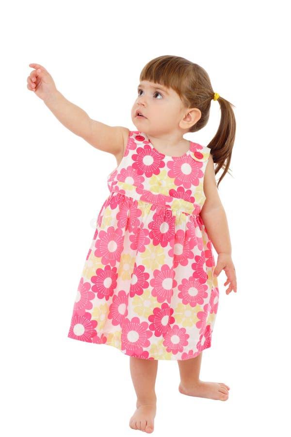 Bambina con la mano indicante vuota fotografia stock libera da diritti