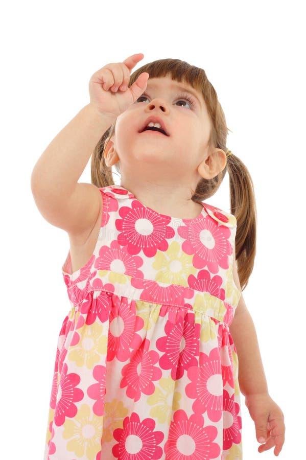 Bambina con la mano indicante vuota immagine stock libera da diritti