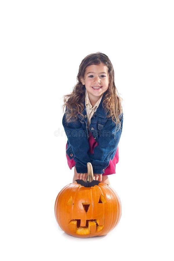 Bambina con la presa-o-lanterna fotografia stock libera da diritti