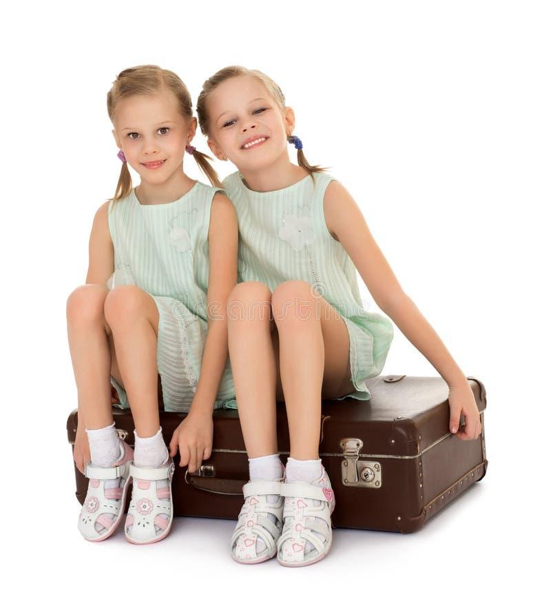 Bambina con la valigia fotografia stock libera da diritti