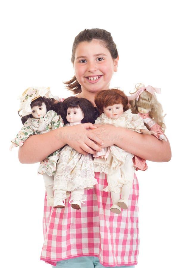 Bambina con le bambole immagini stock libere da diritti