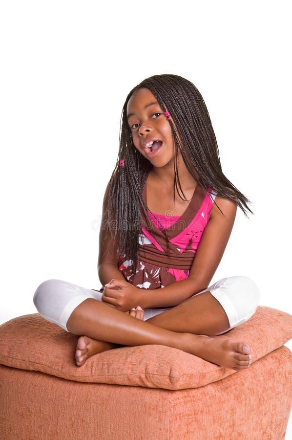 Bambina con le trecce fotografie stock