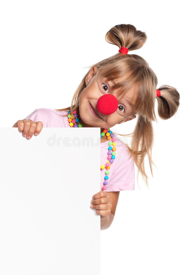 Bambina con lo spazio in bianco bianco immagine stock