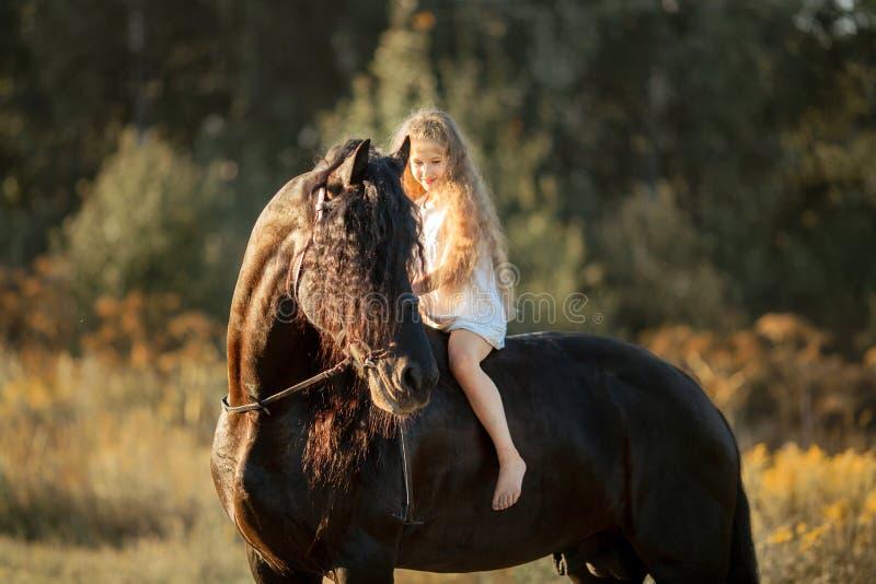 Bambina con lo stallone frisone nero fotografie stock