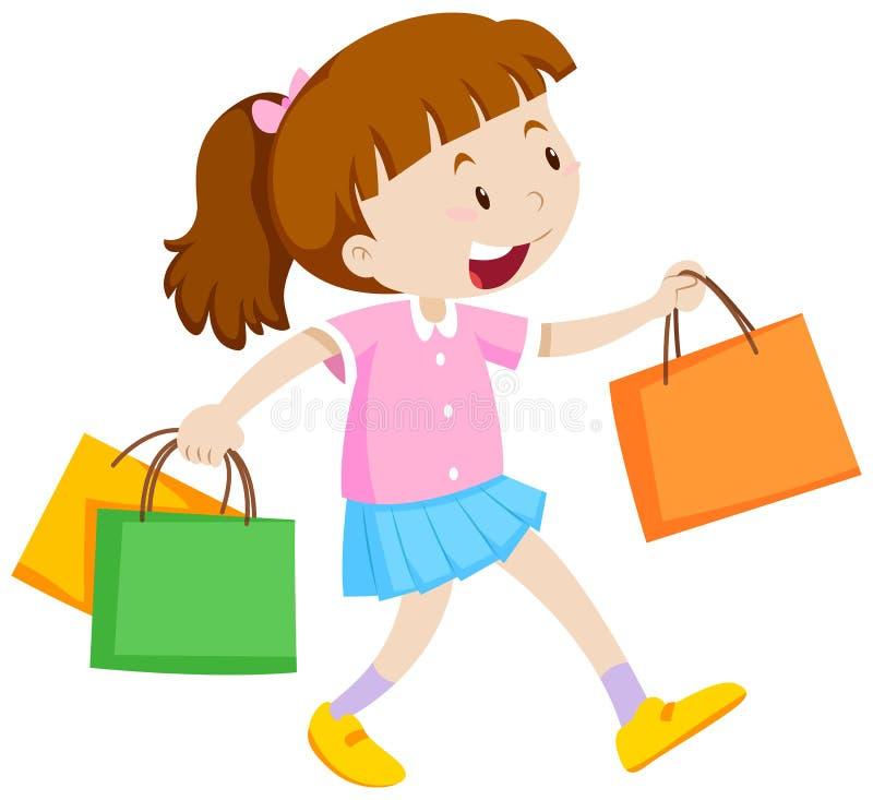 Bambina con tre sacchetti della spesa royalty illustrazione gratis