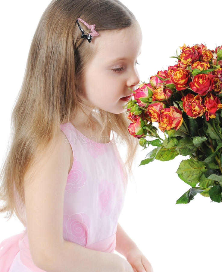 Bambina con una rosa. fotografia stock