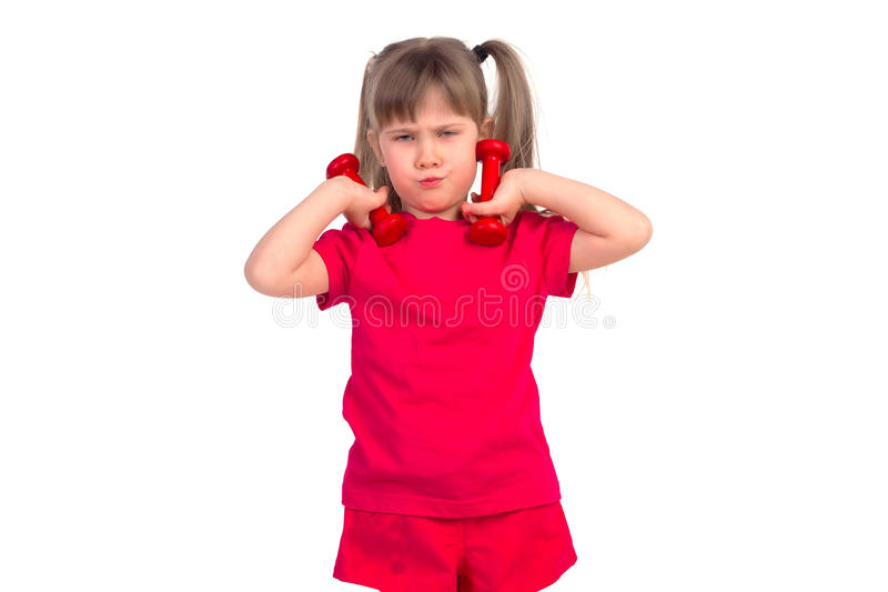 Bambina con una testa di legno fotografia stock
