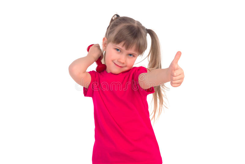Bambina con una testa di legno fotografia stock libera da diritti