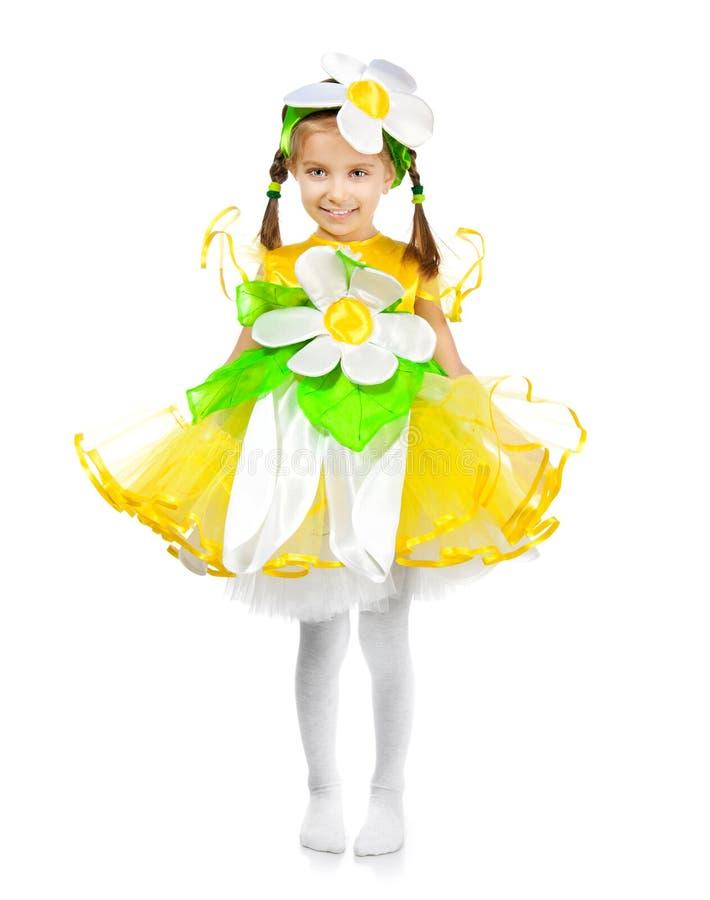 Bambina in costume della camomilla immagine stock