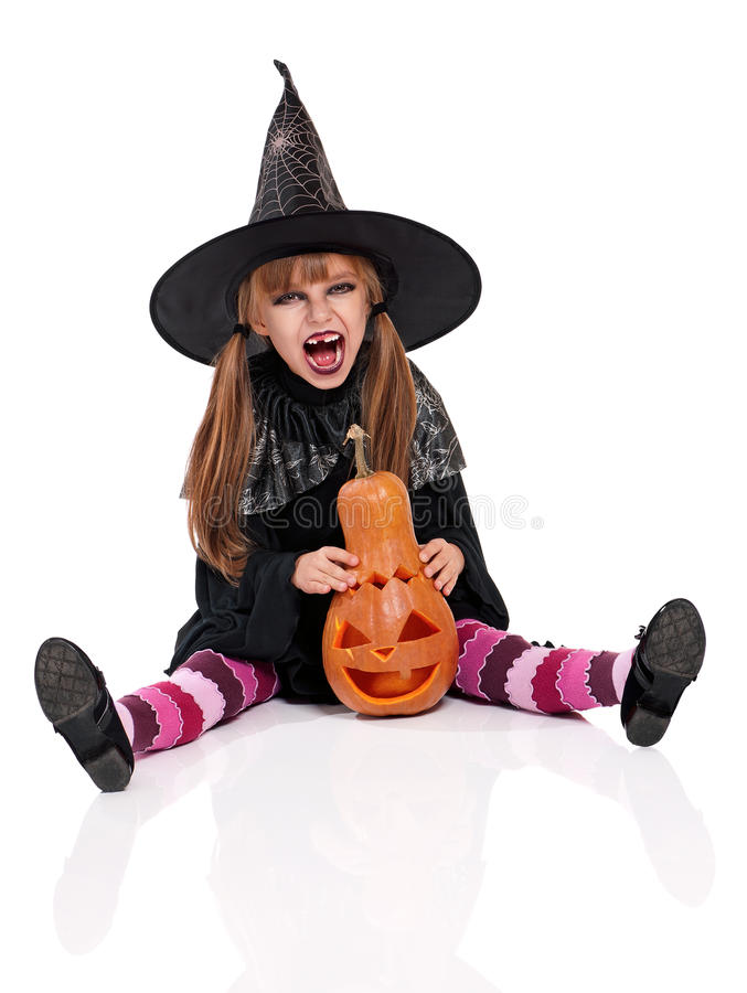 Bambina in costume di Halloween fotografia stock