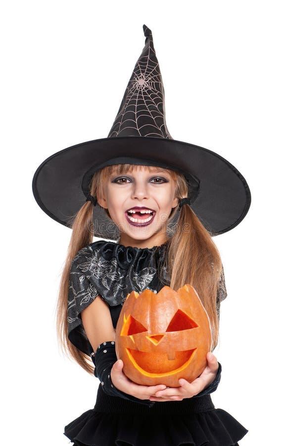 Bambina in costume di Halloween immagine stock libera da diritti