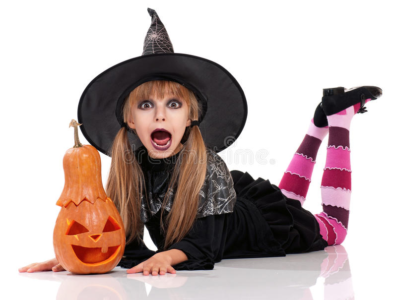 Bambina in costume di Halloween fotografia stock