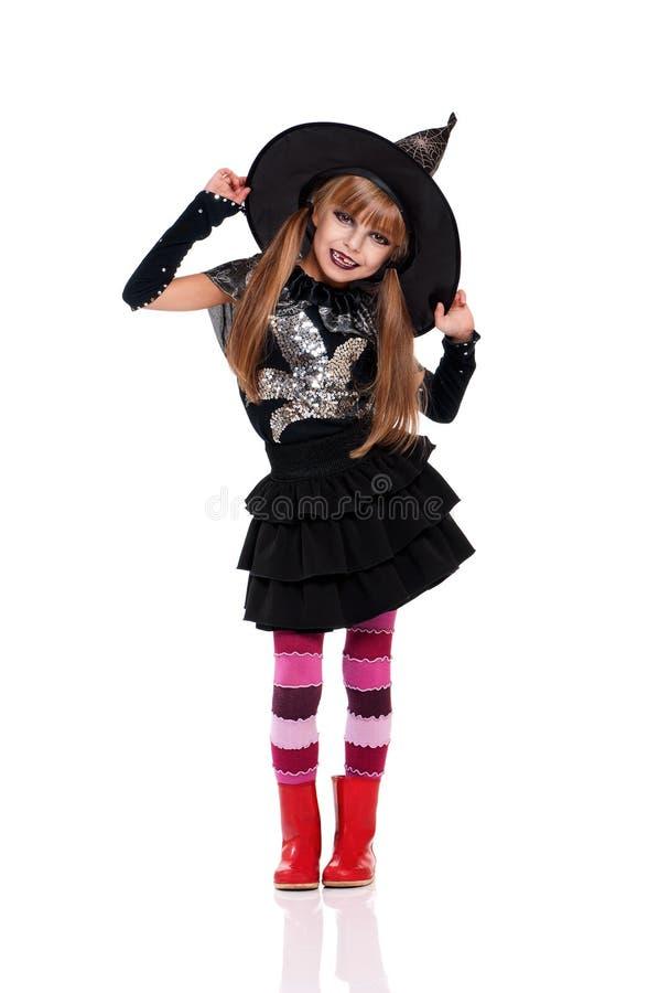 Bambina in costume di Halloween immagini stock