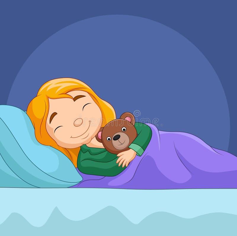 Bambina del fumetto che dorme con l'orso farcito illustrazione vettoriale
