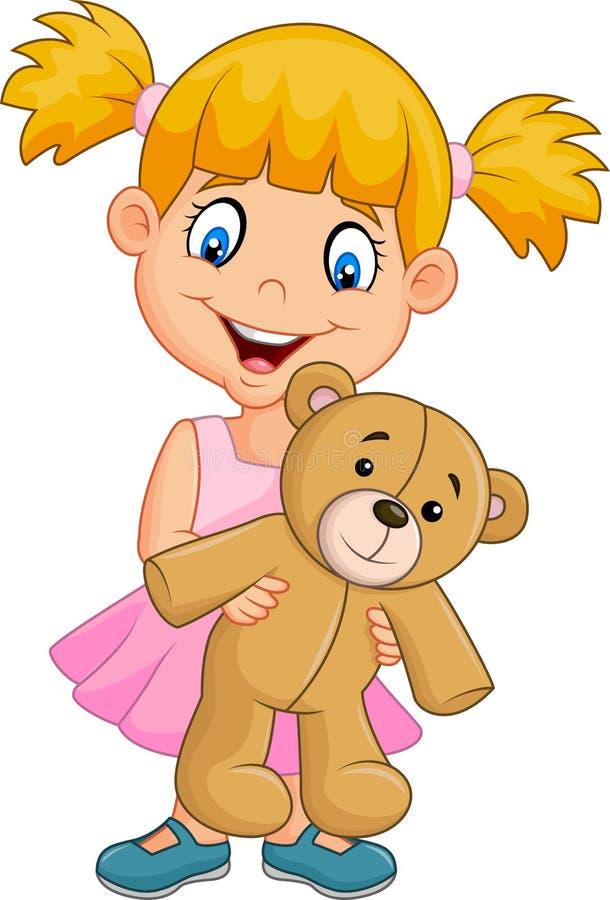 Bambina del fumetto che gioca con l'orsacchiotto illustrazione di stock