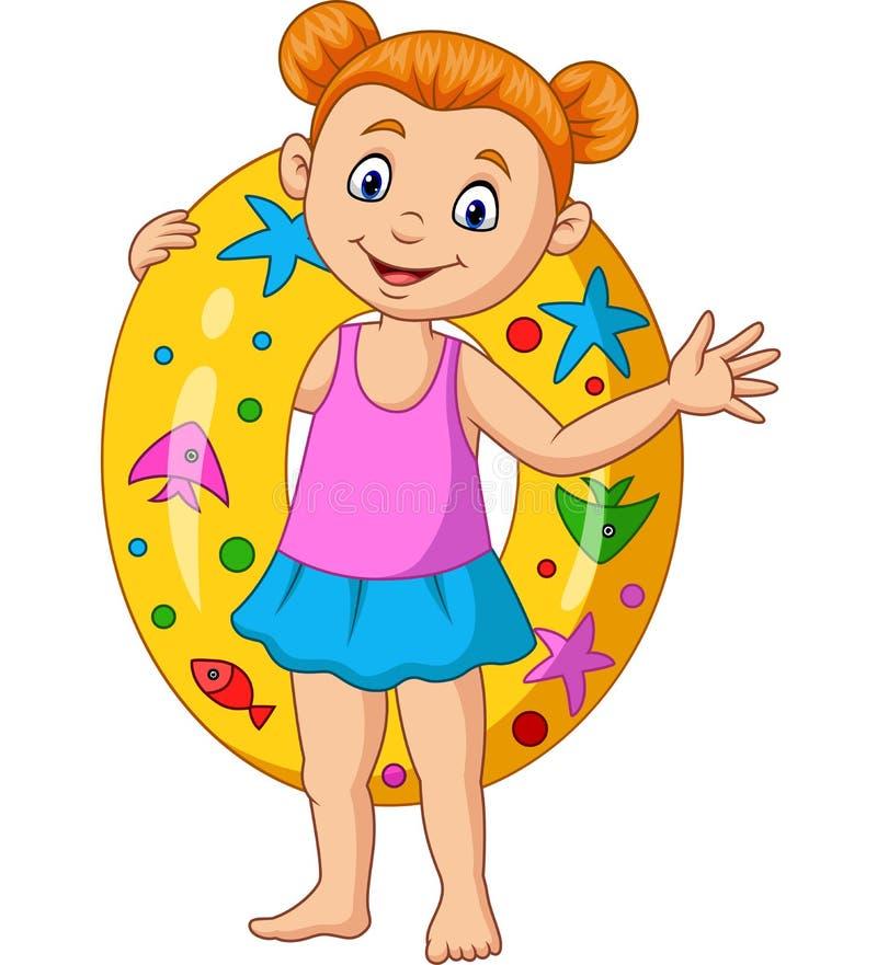 Bambina del fumetto con l'anello gonfiabile illustrazione vettoriale
