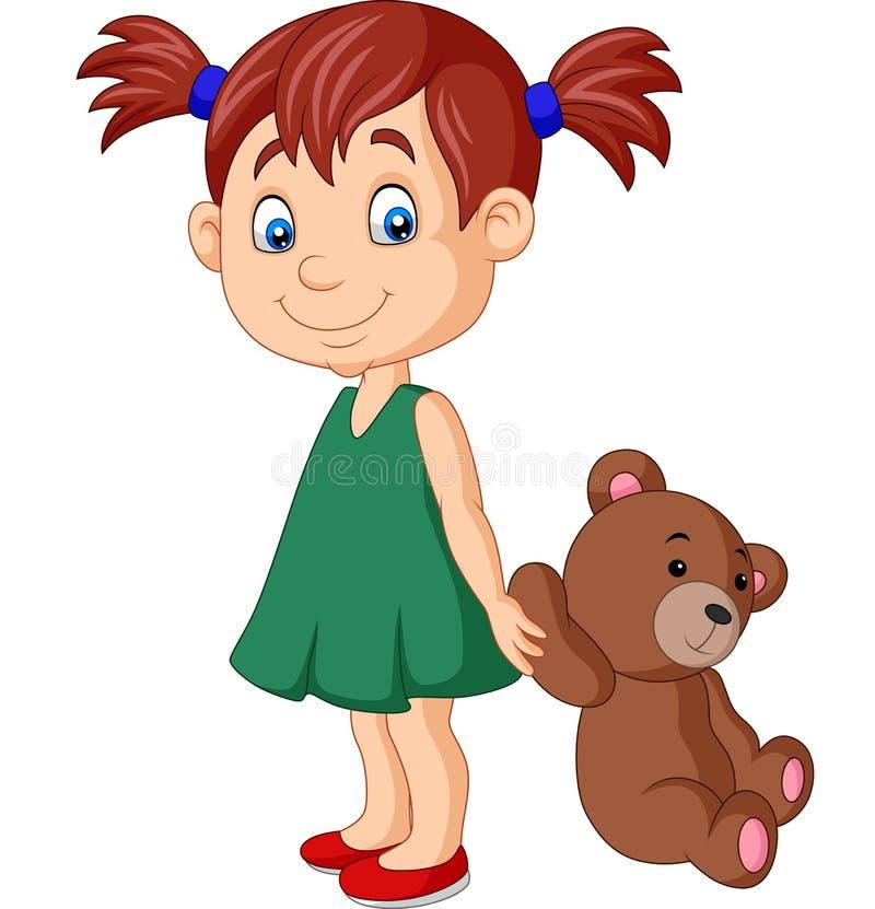 Bambina del fumetto con l'orsacchiotto illustrazione vettoriale