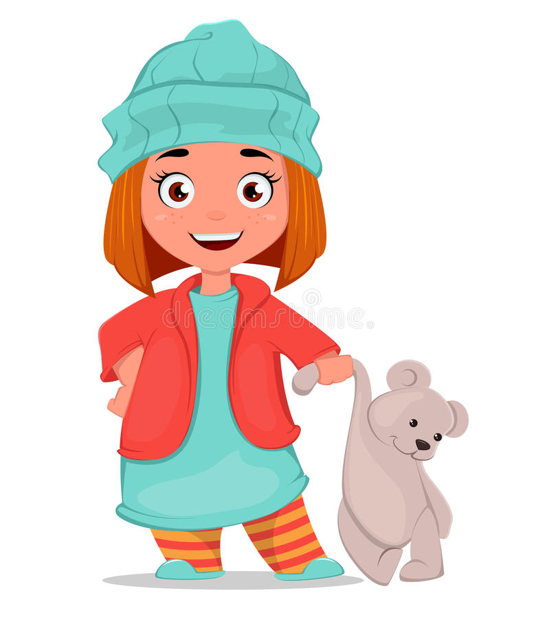 Bambina del fumetto con l'orsacchiotto Illustrazione sveglia Può essere usata come manifesto, affigge, la stampa sui vestiti, l'i illustrazione vettoriale