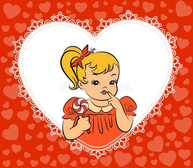 Bambina del fumetto con la caramella. royalty illustrazione gratis