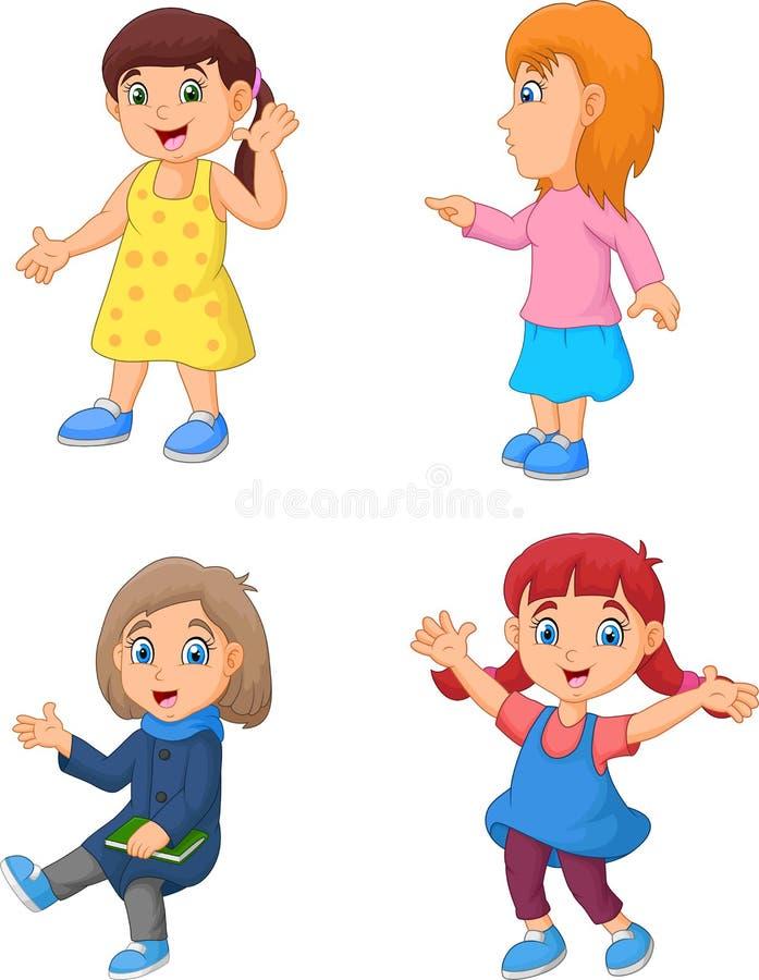 Bambina del fumetto con la posa differente illustrazione di stock