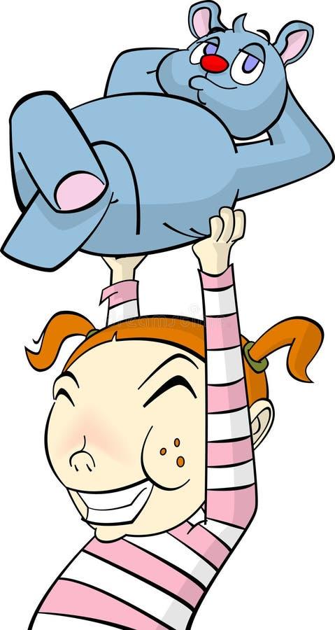 Bambina del personaggio dei cartoni animati con l'orso di orsacchiotto illustrazione di stock