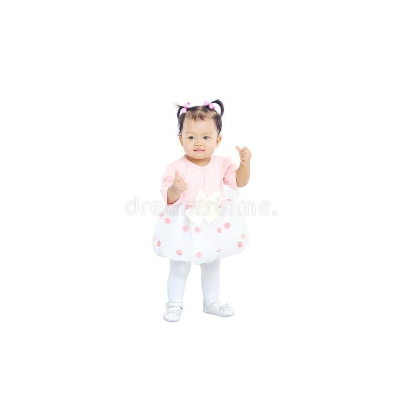 Bambina del primo piano in bello vestito isolato su fondo bianco fotografia stock libera da diritti