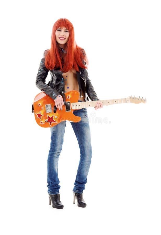 Bambina della chitarra fotografia stock
