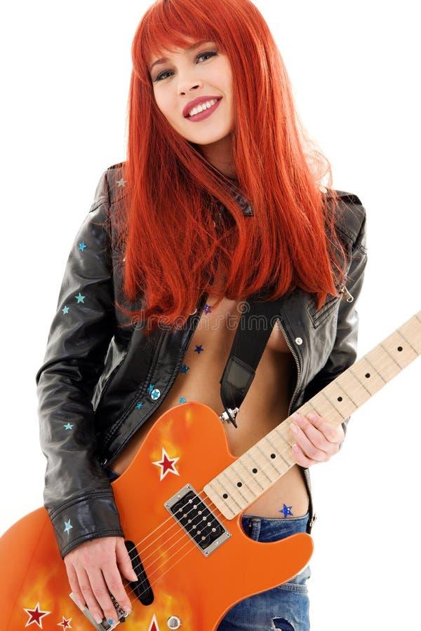 Bambina della chitarra fotografie stock