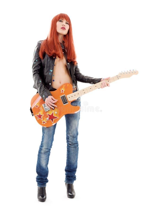 Bambina della chitarra immagine stock