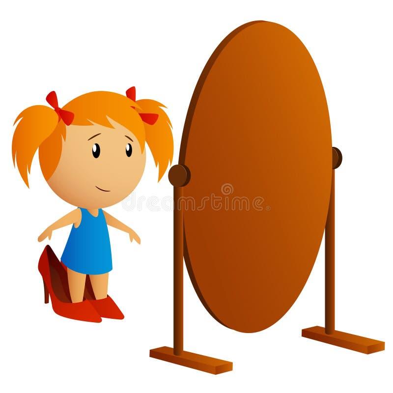 Bambina di bellezza che osserva nello specchio illustrazione vettoriale