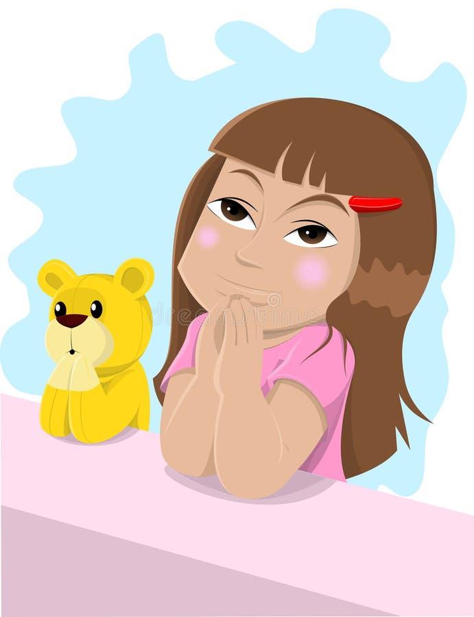 Bambina di preghiera illustrazione di stock