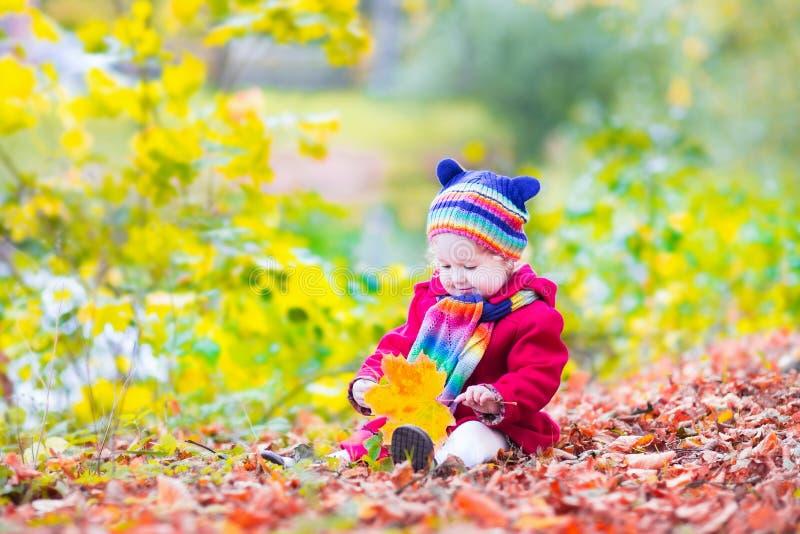 Bambina divertendosi in un parco di autunno fotografie stock