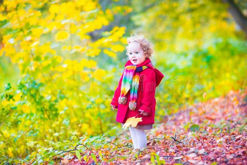 Bambina divertendosi in un parco di autunno fotografia stock libera da diritti