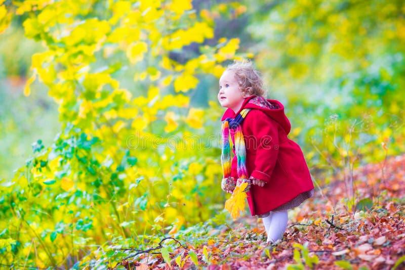 Bambina divertendosi in un parco di autunno fotografia stock