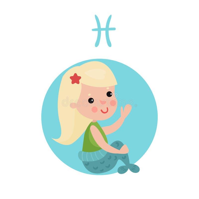 Bambina dolce come segno astrologico di pesci, illustrazione variopinta del fumetto del carattere dello zodiaco dell'oroscopo illustrazione di stock