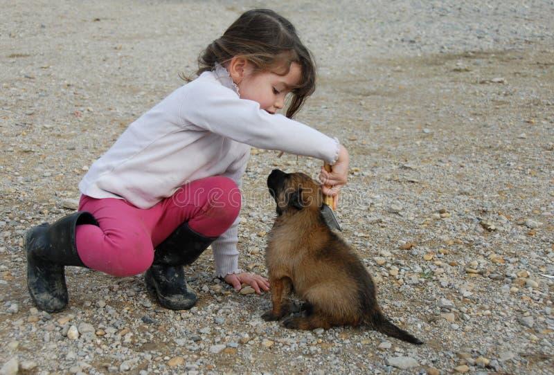 Bambina e cucciolo fotografia stock libera da diritti