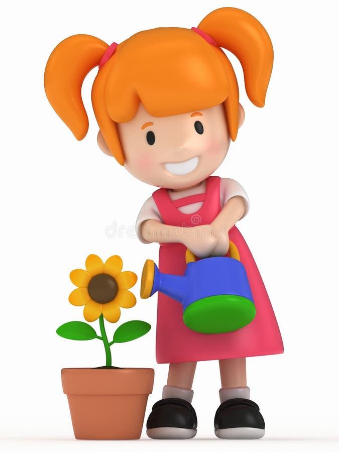 Bambina e fiore illustrazione vettoriale
