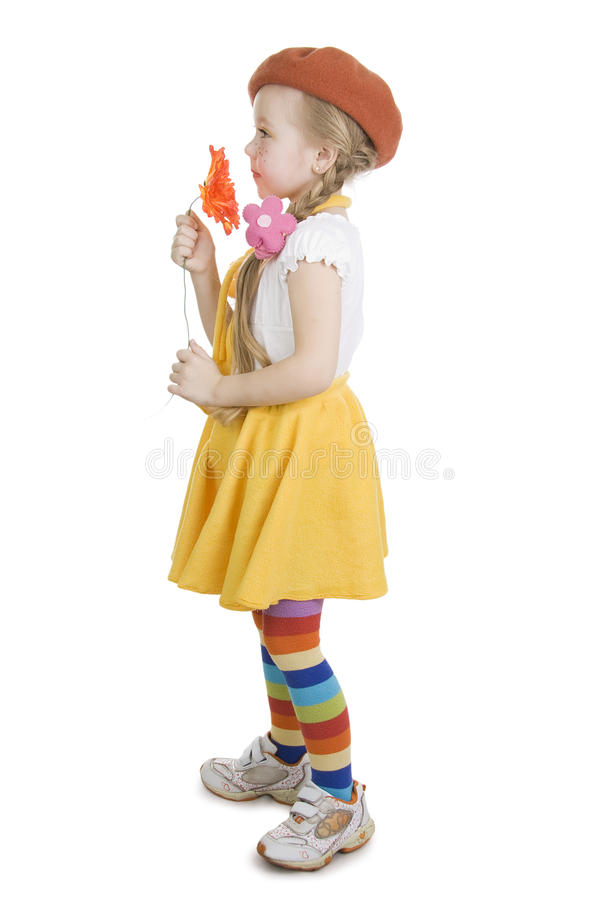 Bambina e fiore alla moda. immagine stock