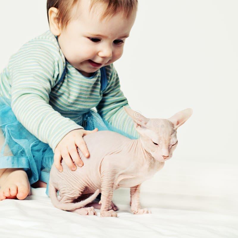 Bambina e gattino Bambino sveglio con il gatto immagini stock libere da diritti