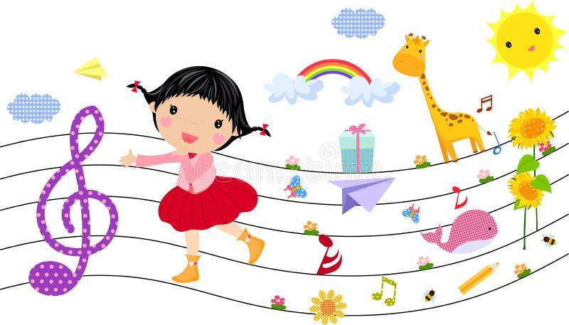 Bambina e musica illustrazione di stock