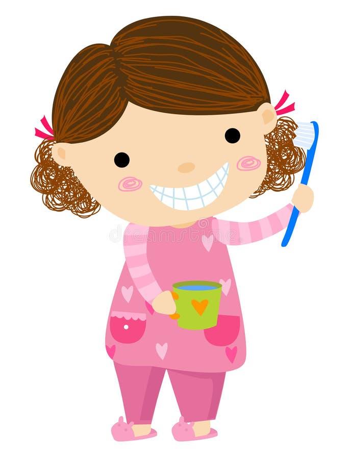 Bambina e spazzolino da denti royalty illustrazione gratis