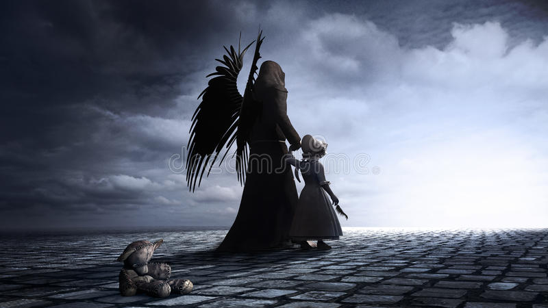 Bambina ed angelo royalty illustrazione gratis