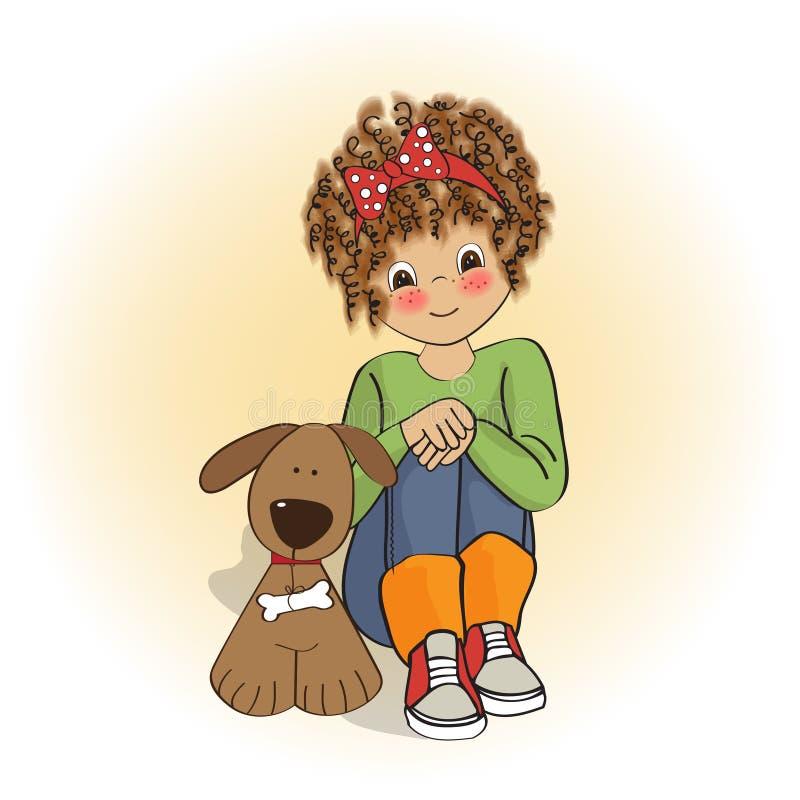 bambina ed il suo cane illustrazione vettoriale