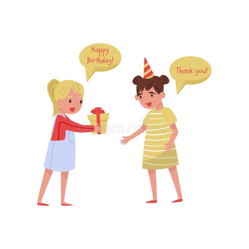 Bambina emozionante che ringrazia il suo amico per il regalo di compleanno Bambini con i buoni modi Illustrazione piana di vettor illustrazione di stock