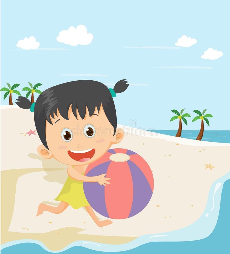 Bambina felice che gioca palla sulla spiaggia di estate royalty illustrazione gratis