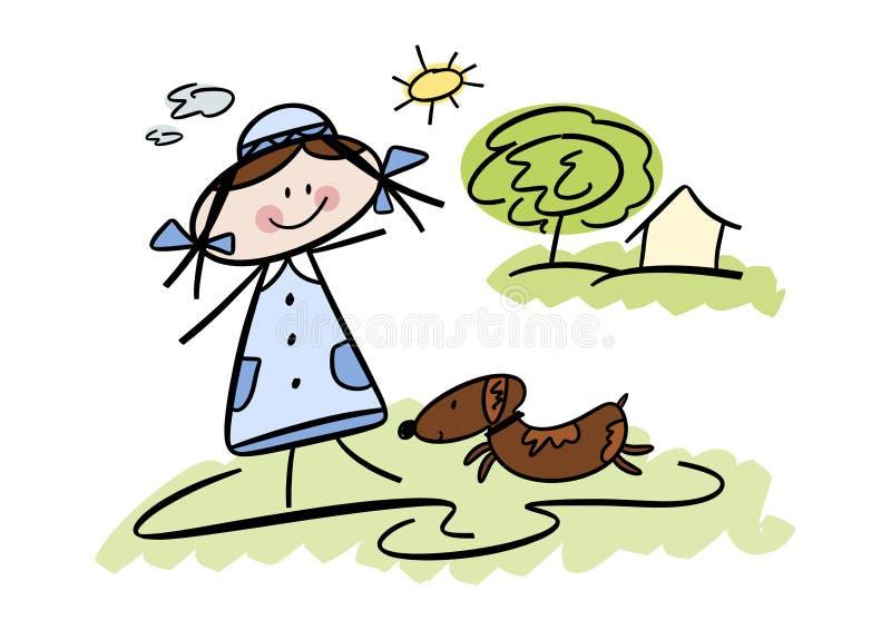 Bambina felice con il suo cane di animale domestico illustrazione vettoriale